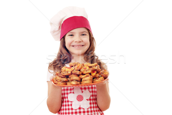 Gelukkig meisje kok bruschetta plaat kind Stockfoto © goce