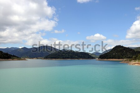 lake hills and blues sky with clouds landscape Stock photo © goce