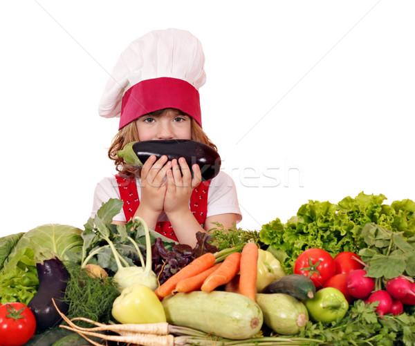 Bambina cuoco melanzane verdura bambini bambino Foto d'archivio © goce