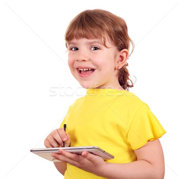 Zdjęcia stock: Szczęśliwy · dziewczynka · komputera · uśmiech · dziecko