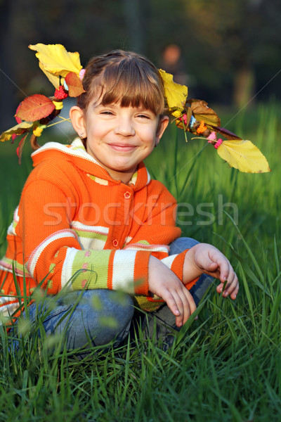 beautiful little girl with leaves in hair autumn season Stock photo © goce