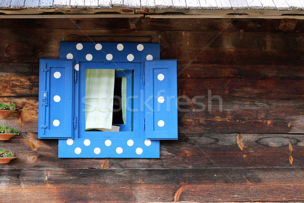 Blauw venster houten hut muur textuur Stockfoto © goce