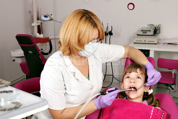 little girl patient and female dentist Stock photo © goce