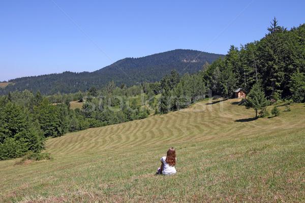 Kislány ül legelő hegy gyermek tájkép Stock fotó © goce