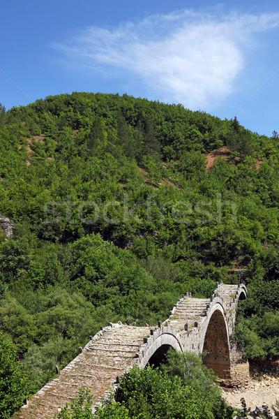 Old Kalogeriko stone bridge on Vikos gorge Zagoria Greece Stock photo © goce