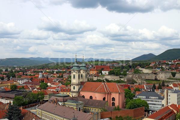 Templom erőd Magyarország városkép utca nyár Stock fotó © goce
