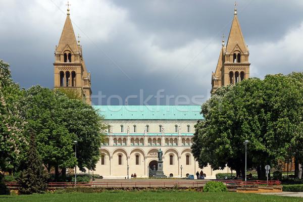 Katedrális Magyarország tájékozódási pont égbolt épület kereszt Stock fotó © goce