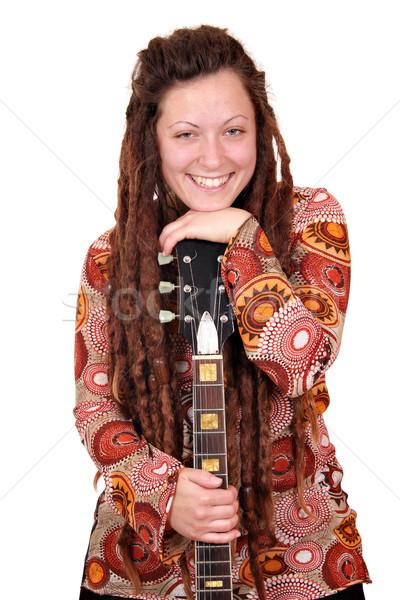 beautiful girl with dreadlocks hair and guitar Stock photo © goce