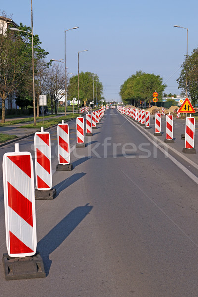 roadwork signs on street road construction Stock photo © goce
