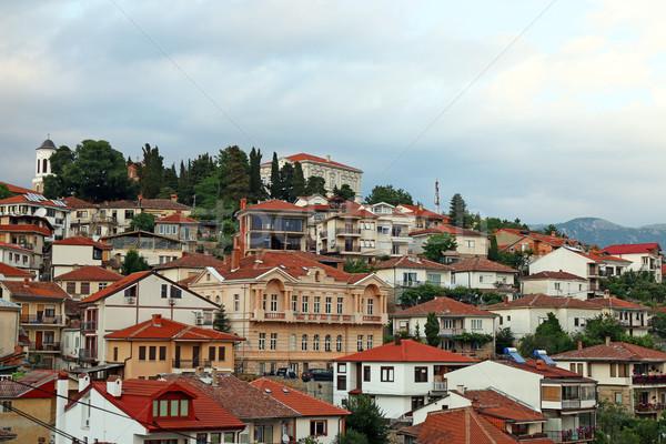 öreg épületek domb Macedónia ház épület Stock fotó © goce