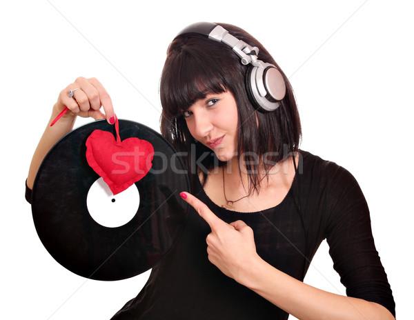 Mooi meisje lp hart meisje schoonheid leuk Stockfoto © goce