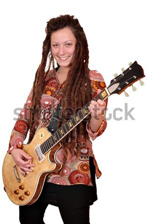 happy girl with dreadlocks hair and guitar  Stock photo © goce