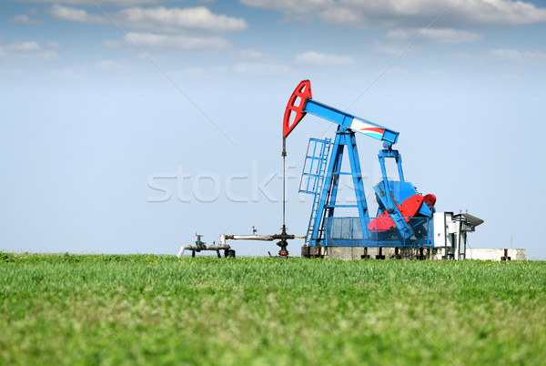 oil pump jack on oilfield Stock photo © goce