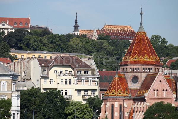 Chiesa vecchio edifici Budapest Ungheria albero Foto d'archivio © goce