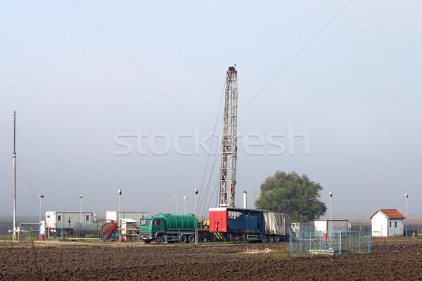 oil drilling rig on oilfield Stock photo © goce