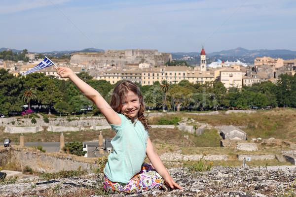 Bambina greco bandiera città Grecia bambino Foto d'archivio © goce