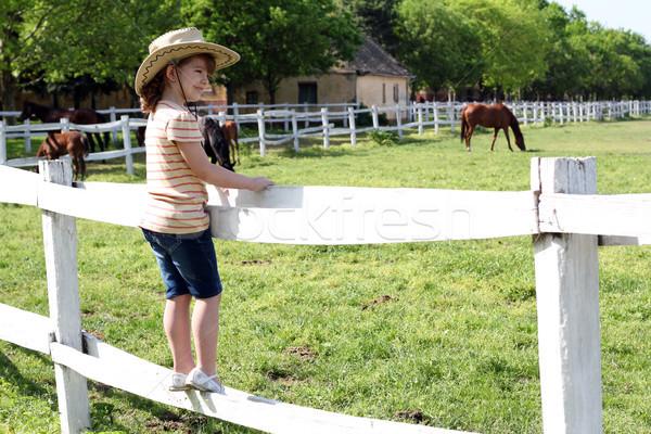 Bambina cappello da cowboy piedi guardare cavalli ragazza Foto d'archivio © goce