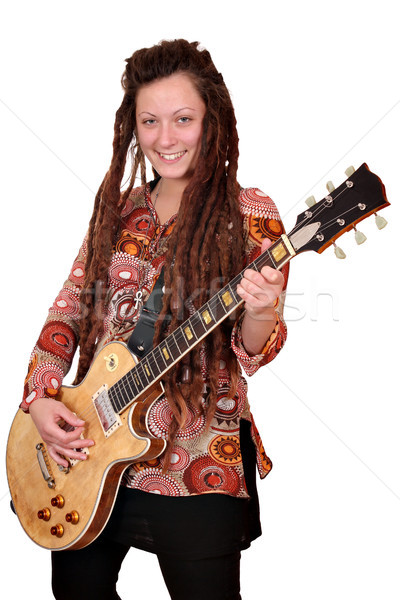 happy girl with dreadlocks play electric guitar Stock photo © goce