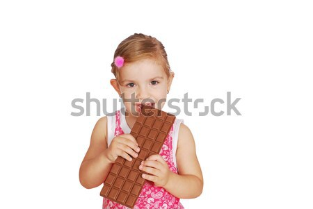 little girl eat large chocolate Stock photo © goce