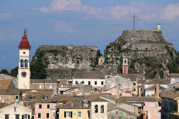 St. Spiridon church and old fortress Corfu town Stock photo © goce