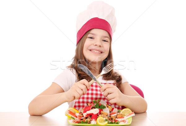 счастливым девочку Кука морепродуктов таблице продовольствие Сток-фото © goce