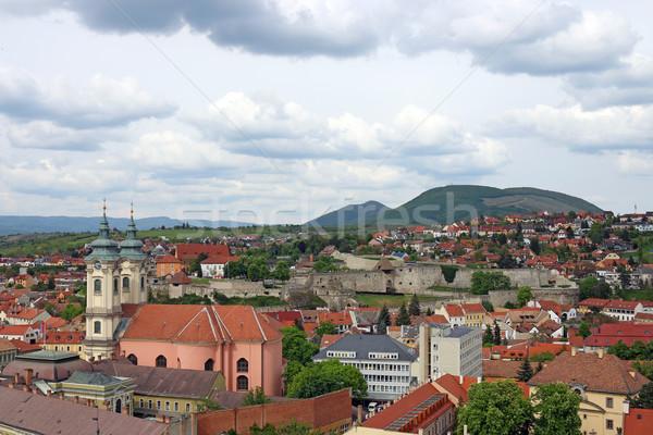 öreg épületek templom erőd Magyarország városkép Stock fotó © goce