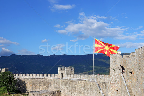 The Macedonian flag on the Samuil fortress Ohrid Macedonia Stock photo © goce