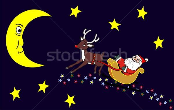 santa claus and moon Stock photo © goce