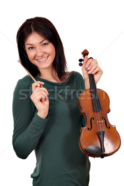 Stock photo: beautiful girl with violin on white