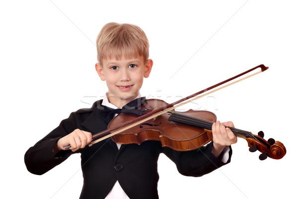 Fiú csokornyakkendő játék hegedű mosoly gyermek Stock fotó © goce