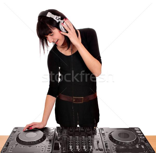 Fille jouer musique platines beauté casque Photo stock © goce