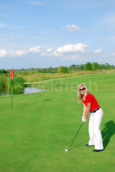 Menina jogador de golfe sorrir golfe beleza Foto stock © goce