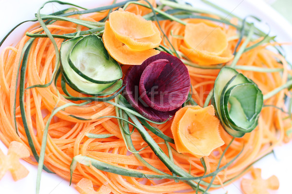 Sárgarépa uborka cékla saláta fehér étel Stock fotó © goce