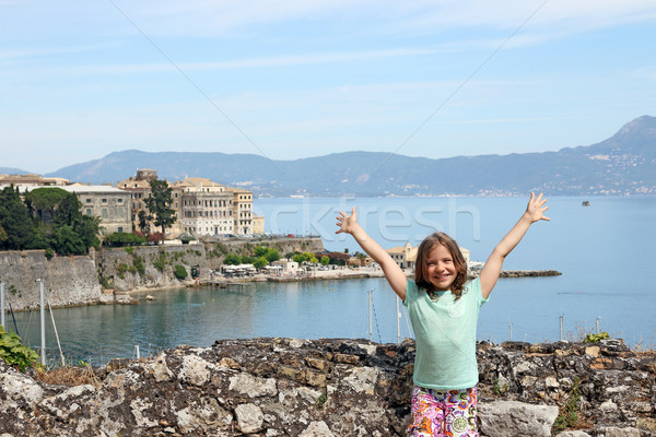 happy little girl on summer vacation in Corfu town Greece Stock photo © goce
