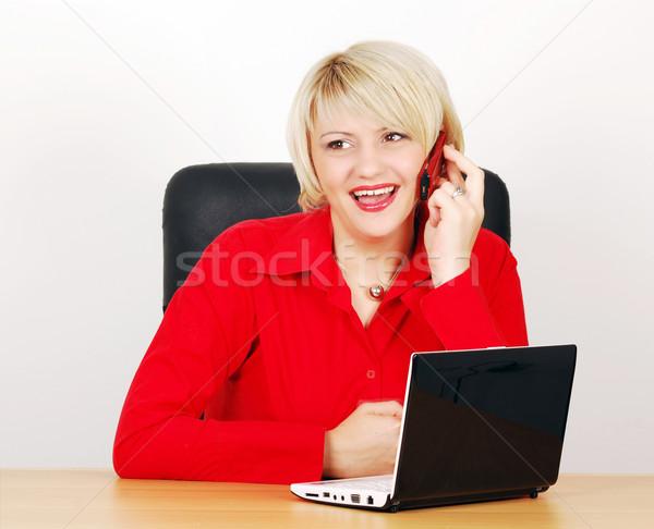 Stockfoto: Vrouw · laptop · telefoon · business · internet · schoonheid