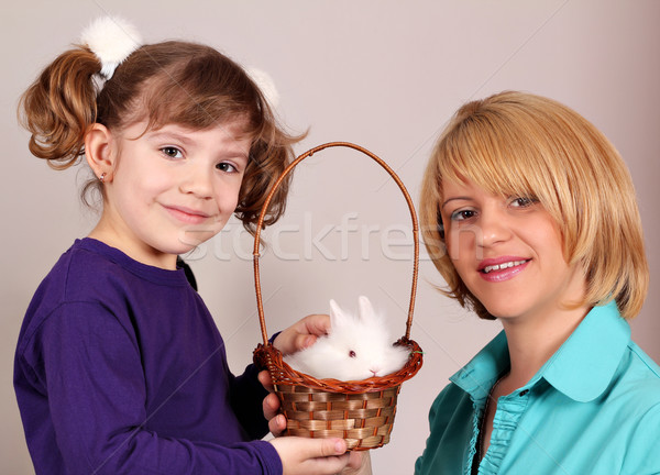 mother and daughter with cute dwarf rabbit Stock photo © goce