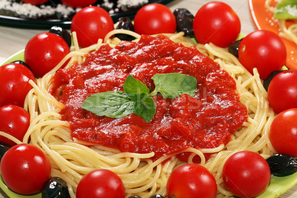 spaghetti with tomatoes olives and sauce Stock photo © goce