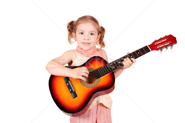 Foto stock: Nina · jugar · guitarra · acústica · música · nino · belleza