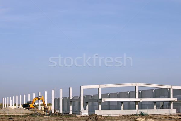 Nieuwe fabriek bouwplaats graafmachine business gebouw Stockfoto © goce
