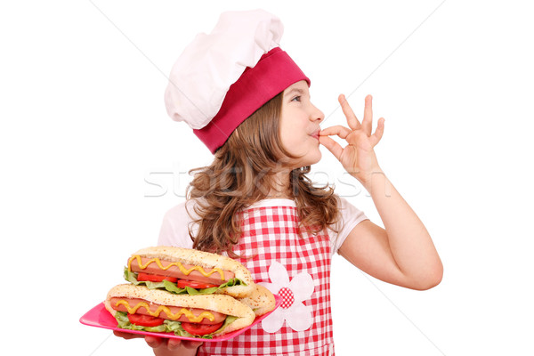 little girl cook with hot dog and ok hand sign Stock photo © goce