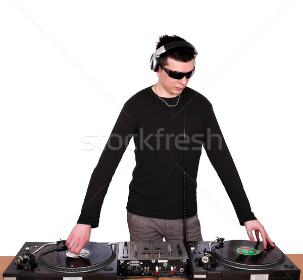 dj with sunglasses play music Stock photo © goce