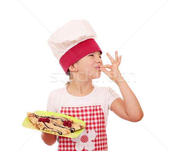 Gelukkig meisje kok handteken glimlach Stockfoto © goce