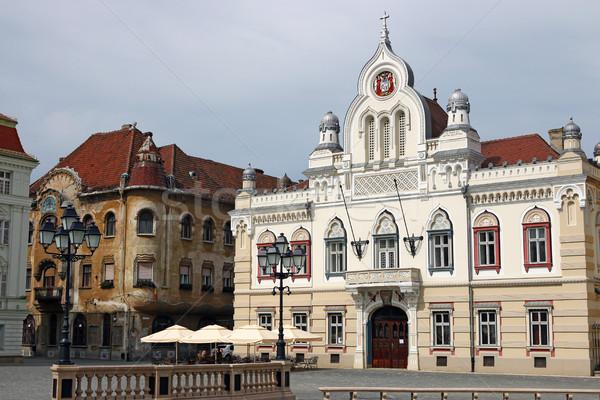 Beautiful old white building Union square Timisoara Romania Stock photo © goce