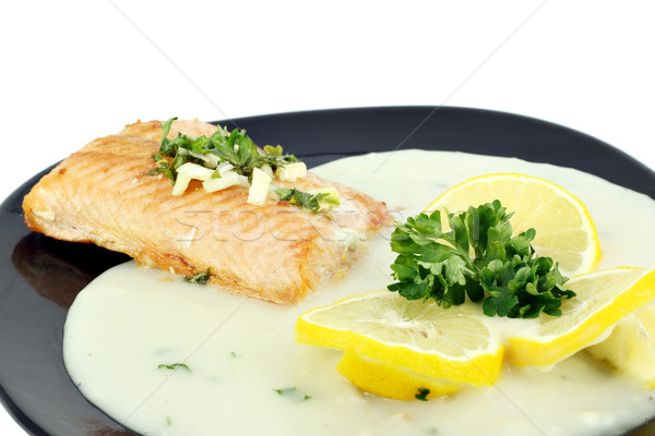 salmon steak with lemon and sauce Stock photo © goce