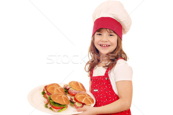 happy little girl cook with sandwiches Stock photo © goce