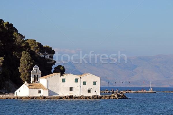 Klasztor wyspa Grecja lata sezon krajobraz Zdjęcia stock © goce