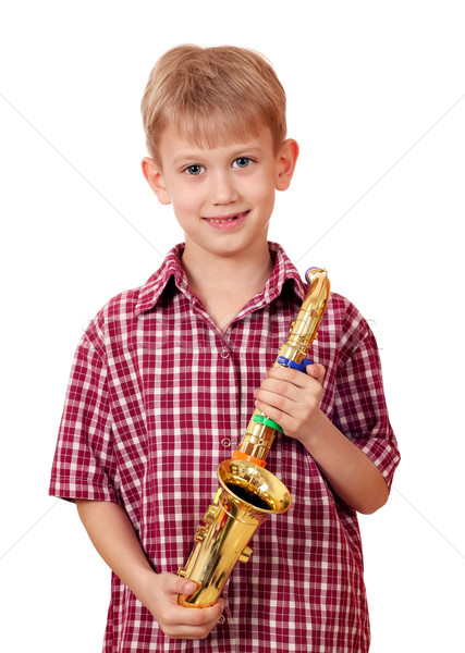 мальчика саксофон музыку счастливым ребенка Kid Сток-фото © goce