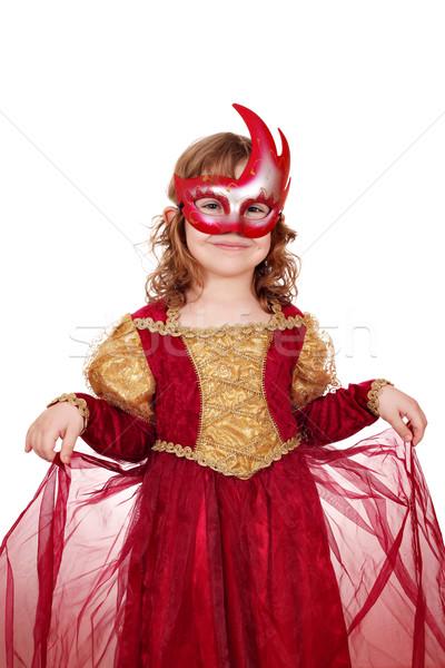 Foto stock: Little · girl · máscara · criança · diversão · ouro · feminino