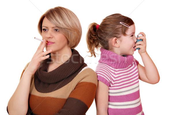 Roken kan veroorzaken astma kinderen vrouw Stockfoto © goce