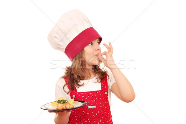 девочку Кука лосося вызывать рукой знак девушки Сток-фото © goce